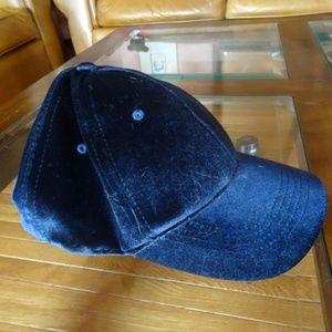 NWT Ellen Tracey Navy Blue Velvet Baseball Hat